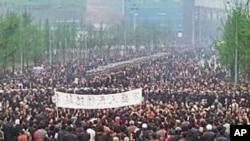 中國重慶市萬盛區發生大規模民眾抗議