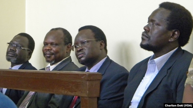 Left to right: former Security Minister Oyay Deng Ajak, former SPLM Secretary General Pagan Amum, former Deputy Defense Minister Majok D'Agot Atem, former envoy of Southern Sudan government to the U.S. Ezekiel Lol Gatkuoth, on their first day in court.
