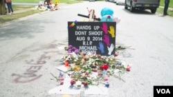 麥克·布朗被打死的地方(美國之音楊晨拍攝)
