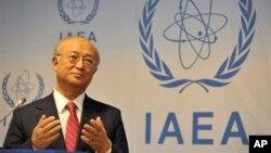 아마노 유키아 국제원자력기구(IAEA) 사무총장이 이달 초 비엔나에서 열린 기자회견에서 발언하고 있다. (자료사진)