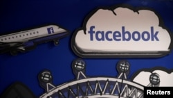 臉書公司在倫敦辦公室裡的臉書標識