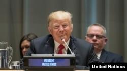 دونالد ترامپ رئیس جمهوری ایالات متحده در مقر سازمان ملل متحد در شهر نیویورک - ۲۴ سپتامبر ۲۰۱۸