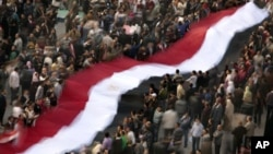 Anti-Mubarak protesters hold an huge Egyptian flag in Cairo's Tahrir Square, February 8, 2011