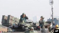 Binh sĩ tham gia cuộc tập trận tại căn cứ hải quân Zuoying ở miền Nam Đài Loan, ngày 18/1/2017. Singapore và Đài Loan tiếp tục tiến hành chương trình huấn luyện quân sự đã khởi sự từ năm 1975, theo các giới chức Đài Loan. Ảnh Tư liệu.