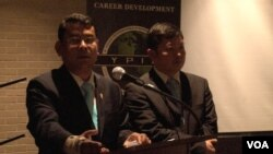 FILE - Nhay Chamroeun and Kong Saphea, opposition lawmakers who were beaten, spoke about human rights issues and democracy in Cambodia to young professionals in Washington, Feb 4, 2016. (Say Mony/VOA Khmer)