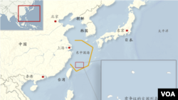 東中國海防空識別區及中日島嶼爭議地理位置