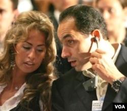 Putera Hosni Mubarak yang tadinya dipersiapkan menggantikannya, Gamal Mubarak dan isterinya, Khadiga (foto: dok.).