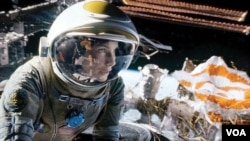 "Oscar-nominated actor Sandra Bullock as an astronaut in the Oscar-nominated movie, ""Gravity."""