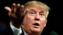 Ứng viên Tổng thống Đảng Cộng hòa Donald Trump phát biểu với các ủng hộ viên trong một buổi tụ họp ở Des Moines, Iowa, 16/6/2015.