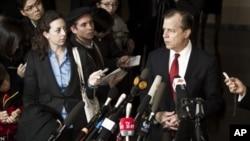 지난 2월 중국 베이징에서 열린 미·북 고위급 회담 직후 기자회견을 가진 글린 데이비스 미 대북정책 특별대표. 당시 북한의 김계관 외무성 제1부상과 회담했다. (자료사진)