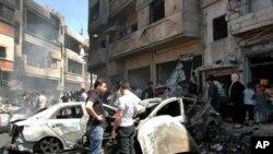تصویر گرفته شده خبرگزاری سانا از منطقه زهرا در شهر حمص که ساکنانش عمدتا طرفداران دولت اسد هستند - ۲۹ آوریل ۲۰۱۴