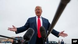 دونالد ترامپ، ۳۱ مه در گفتگو با خبرنگاران در پایگاه هوایی آندروز