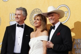 "Actors Patrick Duffy (L), Linda Gray and Larry Hagman from the TV series ""Dallas"" pose backstage at the 18th annual Screen Actors Guild Awards in Los Angeles, California, January 29, 2012."