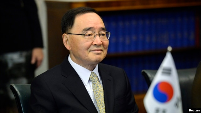 FILE - South Korean Prime Minister Chung Hong-won at the Finnish Parliament, Helsinki, October 2013.