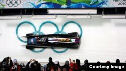 FILE- A two-man bobsled steered by a U.S. Army soldier is seen at the 2010 Winter Olympic Games. (U.S. Army)