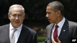 A wan nan hoto shugaban Amurka Barack Obama ne da Frayin Ministan isra'ila Benjamin netanyahu.