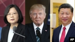 From left, Taiwan President Tsai Ing-wen, U.S. President Donald Trump and Chinese President Xi Jinping.