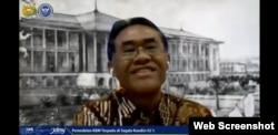 Rektor UGM, Profesor Panut saat diskusi daring bertema pendidikan, Kamis, 28 Mei 2020. (Foto: Screenshot)