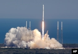 FILE - The SpaceX Falcon 9 rocket lifts off from launch complex 40 at the Kennedy Space Center in Cape Canaveral, Florida, April 8, 2016.