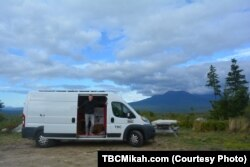 Mikah's cargo van has almost all the amenities of home, as long as the power doesn't go out.