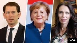 از راست: جاسیندا آردرن، آنگلا مرکل و سباستین کورز از کشورهای نیوزیلند، آلمان و اتریش جزو این ده رهبر هستند.