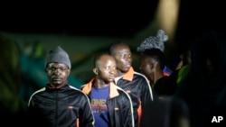 Des migrants nigérians revenus de Libye arrivent à l'aéroport de Lagos le 5 décembre 2017