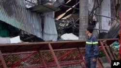 Nhà máy sản xuất xe đạp Đài Loan bị người biểu tình đập phá tại Dĩ An, tỉnh Bình Dương, Việt Nam, ngày 14/5/2014.