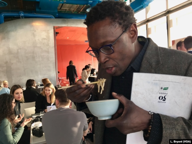 "Senegalese chef Pierre Thiam attends a ""Future 50 Foods"" tasting at the Pompidou Center in Paris. Thiam cooks and markets fonio in the U.S., sourcing the grain from African farmers."