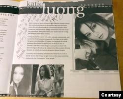 Trang giới thiệu về Katie Lương trong Cinema Symposium với lưu bút của cô. (Hình: Ysa Lê)