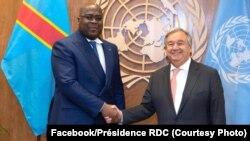Président Félix Tshisekedi ayambi kalaka mokonzi ya ONU Antonio Guterres na Kinshasa, 24 septembre 2019. (Facebook/Présidence RDC)