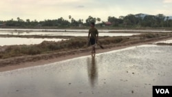 Hul San walks past his salt field in Kampot province, Toek Chhou district, on Wednesday 23, December 2015. (Phorn Bopha/ VOA Khmer)