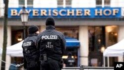 慕尼黑安全会议会场外部署的警力