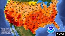 Un mapa de la Administración Nacional Oceánica y Atmosférica (NOAA) muestra las altas temperaturas expresadas en grados Fahrenheit que se esperan este fin de semana.