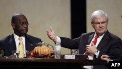 Hai ứng cử viên Ðảng Cộng Hòa Newt Gingrich (phải) và Herman Cain