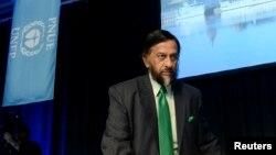 Le président du Groupe Intergouvernemental d'Experts sur le Climat, Rajendra Pachauri, lors d'une conférence de presse à Stockholm, le 27 septembre 2013.