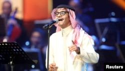 Saudi Arabian singer Rabeh Sager peforms during a concert in Jeddah, Saudi Arabia, Jan. 30, 2017.
