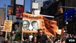 Waandamanaji wakipinga hatua ya kijeshi dhidi ya Syria mjini New York