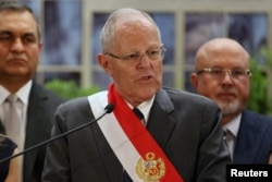 Peru's President Pedro Pablo Kuczynski speaks during a swearing-in ceremony at the Government Palace in Lima, Peru, Jan. 9, 2018.