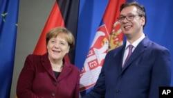 Nemačka kancelarka Angela Merkel i premijer Srbije Aleksandar Vučić, Berlin 14. mart 2017.