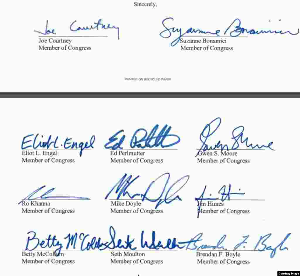 congress man and women letter to Tillerson