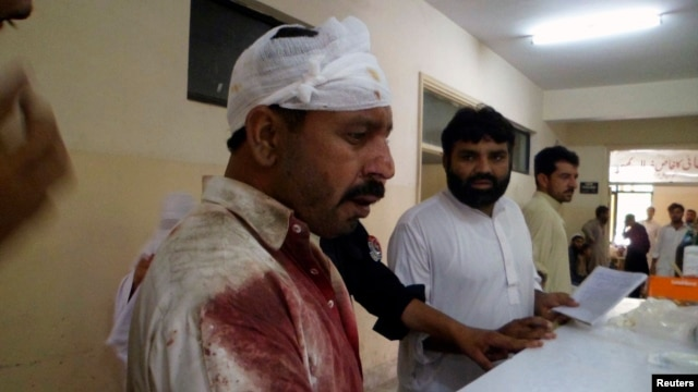 One of the injured in the twin blasts in Parachinar is seen at a local hospital July 26, 2013.