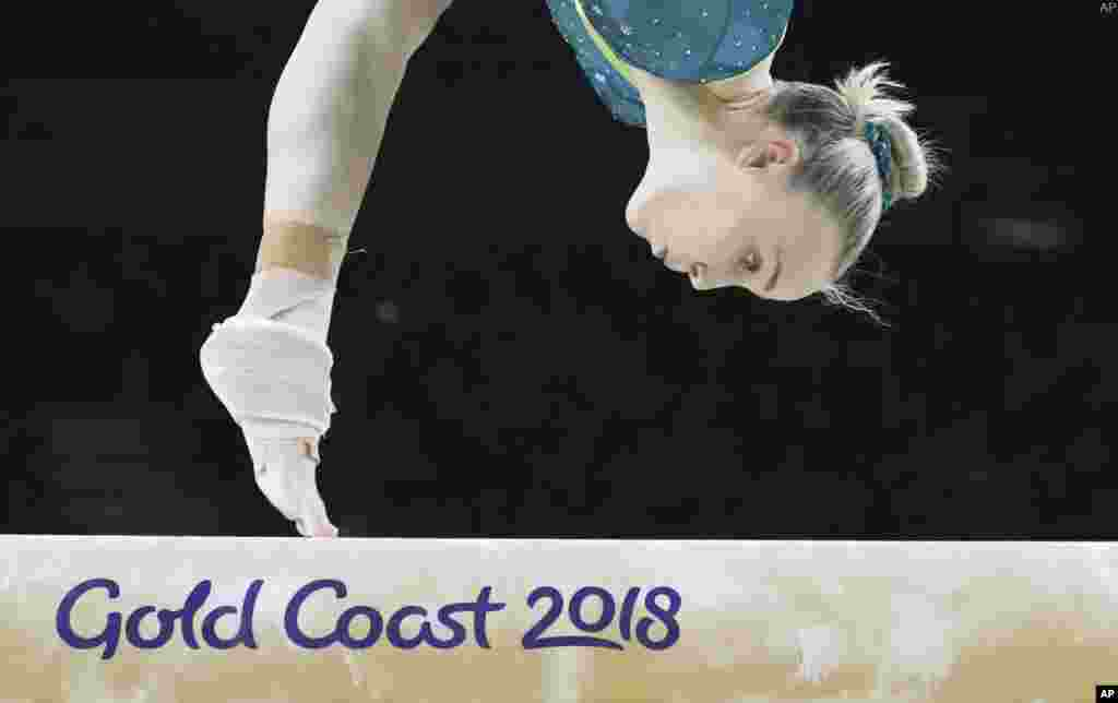 Australia's Emily Whitehead competes on the balance beam during the women's team artistic gymnastics finals at the Commonwealth Games on the Gold Coast, Australia.