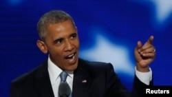 بارک اوباما، رئیس جمهور امریکا، حین سخنرانی در کنوانسیون ملی حزب دموکرات ها در ایالت فلادلفیا