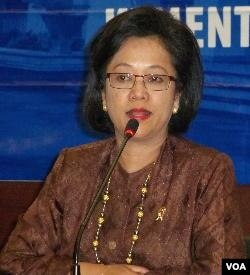 Menteri Negara PPN/ Kepala Bappenas, Armida Alisjahbana, dalam dalam acara pemaparan kinerja Kementerian Negara PPN tahun 2012 di Jakarta (3/1).