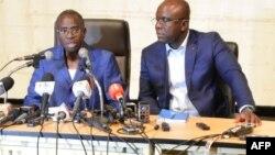 Clément Sawadogo, ministre de la Sécurité, et Remi Fulgence Dandjinou, ministre de la Communication et porte-parole du gouvernement , Ouagadougou, le 2 mars 2018