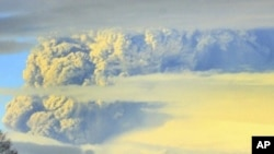 A column of smoke and ashes comes out from the Puyehue volcano, about 1,000 kilometers south of Santiago, Chile, Saturday, June 4, 2011.