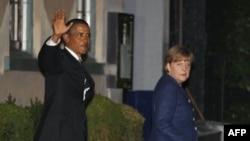 Tổng thống Obama và Thủ tướng Merkel sau bữa ăn tối tại một nhà hàng sang trọng ở khu Georgetown của Washington, ngày 6/6/2011