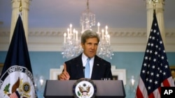 Secretary of State John Kerry makes a statement about Syria at the State Department in Washington, Aug. 30, 2013.