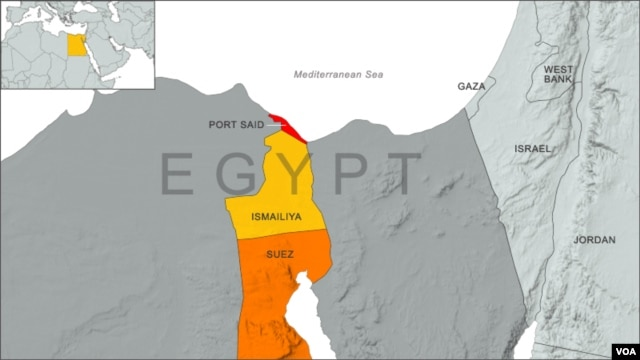 Egypt map, with regions Ismailiya, Port Said and Suez