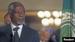 ທ່ານ Kofi Annan ທູດພິເສດຂອງສະຫະປະຊາຊາ ແລະສັນນິບາດອາຣັບ ເຂົ້າຮ່ວມປະຊຸມທີ່ກຸງ Cairo ປະເທດ Egypt, 8 ມີນາ , 2012.